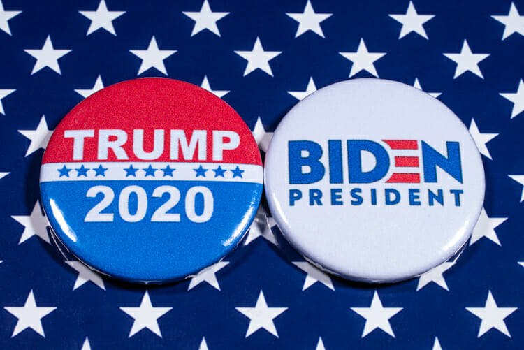 election buttons for trump and Biden
